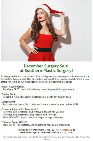 Southern Plastic Surgery December 2017 skin care specials